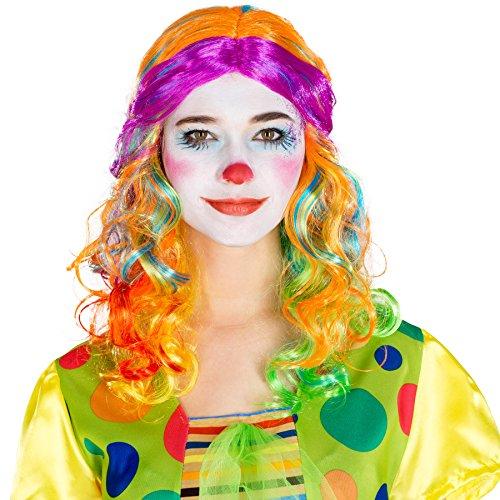 Perücke bunt Strähnen Mehrfarbig | Fasching Disco Clown | gelockt lockig