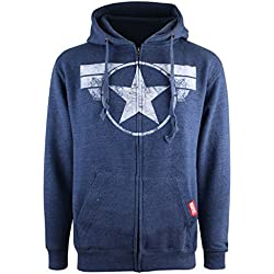 Marvel Zip Hood Cap Logo Heather Navy M