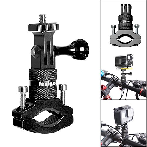 Action Kamera Bike Mount, Aluminium Lenker Adapter 360 Grad drehbar Fahrrad Rack Mount für GoPro Hero 6/5/4/3 +/3/2/Session Sony Action Cam und andere Sport Kamera Bike Halter