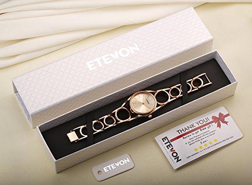ETEVON Frauen Quarz Rose Gold Armbanduhr mit Runden Hohlen Armband Rostfreier Stahl Wasserdicht, Mode Luxus Verkleiden Armbanduhren für Damen - 2