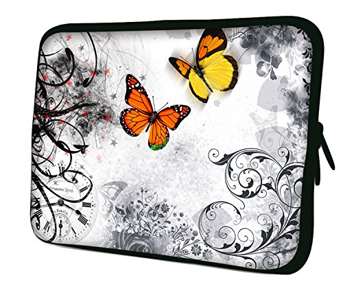 Ektor - Funda de protección para ordenador portátil de 7-17,6', tableta Disponible en varios modelos y colores (Parte 4 de 4), (mariposas en el blanco), 10' (210x270mm)