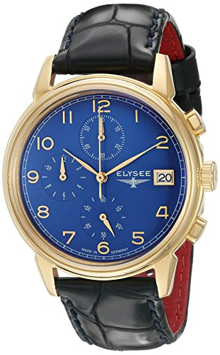 ELYSEE Made in Germany Vintage Chrono 80552 40mm Gold Plated Stainless Steel Case Blue Calfskin Synthetic Sapphire Men's Watch