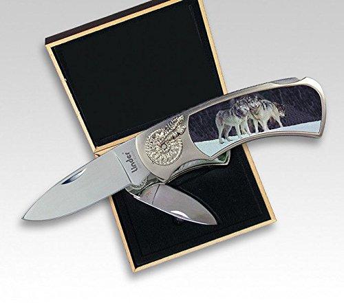Linder Couteau de Fermeture, Inoxydable, 3 Loups, boîte Cadeau, 10 cm, Couteau Pliant