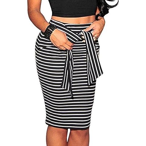 Mujer Faldas De Tubo Midi Falda Estrecho De Rayas Lapiz Cortas Vestidos De Fiesta Negro M