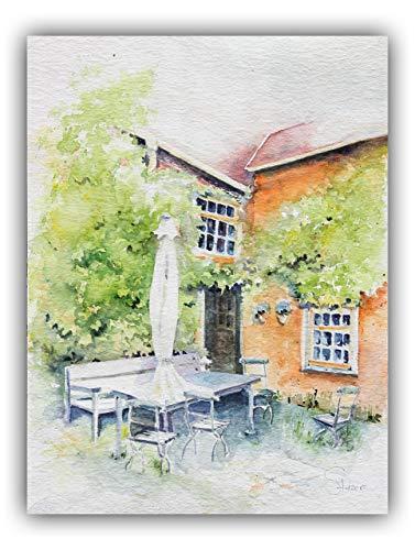 Handgemaltes Bild: Innenhof
