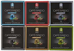 Caffe Ottavo Nespresso Compatible Six Flavours Selection Pack Coffee Capsules (Pack of 10, Total 100)