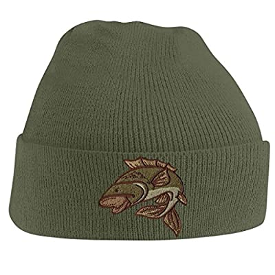 Beanie Hats for Men Carp Fishing Beanies Embroidered Animal Knitted Wooly Hat One Size Fits All Beanie Fishermans Hat from BANG TIDY CLOTHING