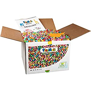 PlayMais EDULINE Mosaic Bastel-Set für Kinder ab 3 Jahren   Motorik-Spielzeug mit 12.000 50 Seiten Vorlagen zum Basteln & Lernen   Fördert Kreativität & Feinmotorik   Natürliches Spielzeug