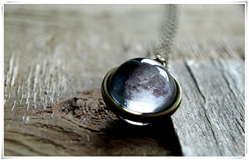 Custom Moon Phase necklace, Moon phase pendant, Birth Moon phases necklace, Glass Dome moon necklace, Personalized moon necklace, Gift