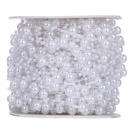 demiawaking 10m String Beads Perle Kette Kunststoff Girlande Hochzeit Perlen Weihnachtsbaum Crafts Tischdekoration Perlen für Schmuckherstellung weiß (Perlen-girlande Für Den Weihnachtsbaum)