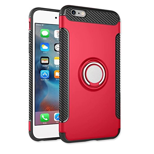 iPhone 6S Plus Hülle, iPhone 6 Plus Schutzhülle 360° Kickstand Magnetic Premium Silicone Bumper Case, Silikon TPU + PC Farbschichtschutz Handyhülle mit 360° Drehbarem Metallhalter, Tasche mit Grip Rin Rot