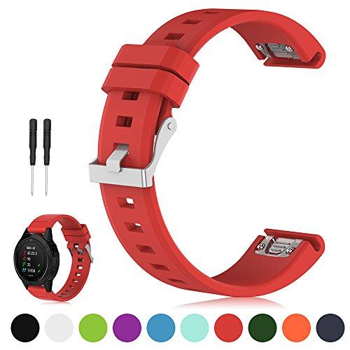 Garmin Fenix 5 Multisport GPS Uhrenarmband - iFeeker 22mm Breite Weich Silikon Schnellmontage Armbanduhr Armband für Garmin Fenix 5 / Forerunner 935 / Approach S60 / Quatix 5 / Quatix 5 Saphire (kein Uhrgerät, Ersatzband nur)