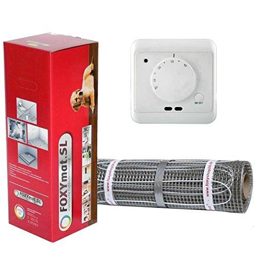 FOXYSHOP24-elektrische Fußbodenheizung PREMIUM MARKE FOXYMAT.SL (160 Watt pro m²) mit Thermostat QM-AG,Komplett-Set 7.0 m² (0.5m x 14m)