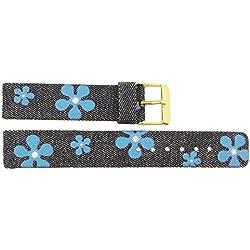 Watch Strap in Jeans Jeans - 18mm - - buckle in Gold stainless steel - B18JeaItr53G
