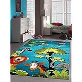 Kinderteppich Spielteppich Kinderzimmer Teppich Zootiere niedliche bunte Tiere mit Elefant Giraffe Löwe Zebra Affe Türkis Orange Grün Grau Rot Creme Schwarz Größe 120x170 cm