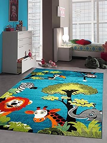 Children carpet Game carpet children rug zoo animals cute colorful animals Elephant Giraffe Lion Monkey Zebra Turquoise Orange Green Gray Red Creme Black size 80x150 cm - Zoo Blu Animali