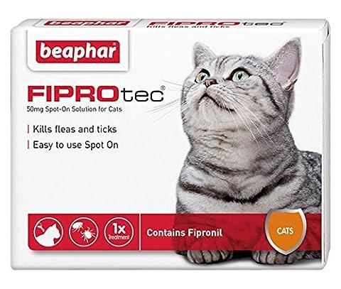 Beaphar® FIPROtec® Kill Flea Ticks Spot On Drop Treatment Protection for Small Medium Large XL Dogs Puppies & Cats (Cats, 1 Treatment)
