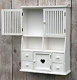 more-decor-de Küchenschrank Wandschrank Hängeschrank Küchenregal - Landhaus - Shabby Chic Stil - Vintage - Weiß