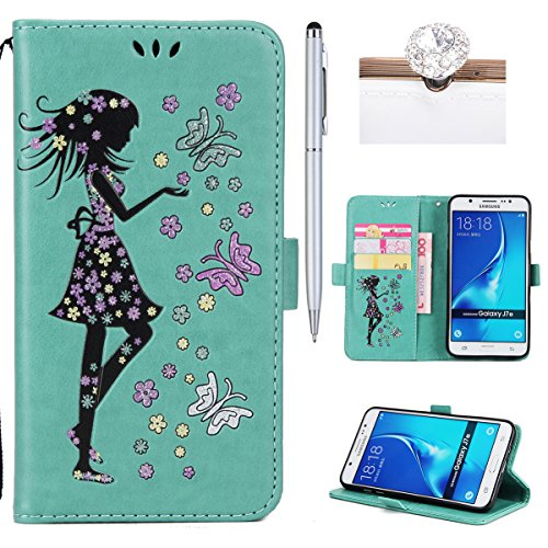Felfy Coque Etui pour Samsung Galaxy J7 2016,Galaxy J7 2016 Coque Dragonne Portefeuille PU Cuir Etui,Galaxy J7 2016 Etui Cuir Folio Housse Brun Tournesol 3D en Relief Motif Leather Case Wallet Flip Pr Fille Vert
