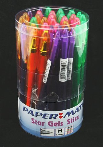 36-x-papermate-star-gel-ink-stick-pens-green-pink-purple-orange
