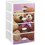 Gran plástico apilable Set de 4cajones con cristal frontal decorado infantil, color rosa/blanco, juego de 21