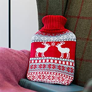 Harbour Housewares Full Size Hot Water Bottle With Knitted Cover - Grey / Red Christmas Stag / Reindeer