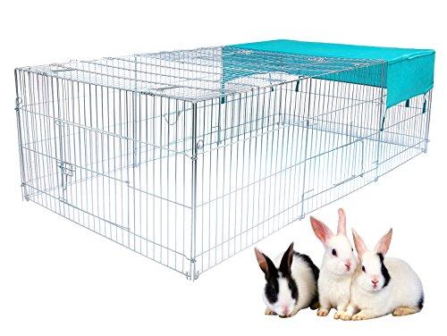 EUGAD Freigehege Freilaufgehege Kaninchen Freilaufgitter Kaninchen Hasen mit Abdeckung, Sonnenschutz 180 x 120 x 60 cm 0199HT