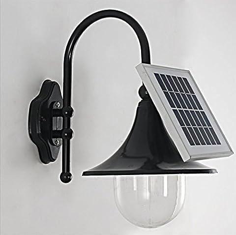 Solarleuchten Wandlampen LED Aluminium Glas Energieeffiziente Umweltfreundliche Wasserdicht für Außen / Landscape / Outdoor Zaun Stimmungslampe Außendekoration Schwarz(IP65)