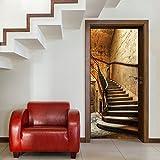 Türtapete ,,Antique Stairs TT4 86cm x 200cm Treppe Stufen Aufgang Haus Vintage Antik Beige Braun Fototapete inklusiv Kleister