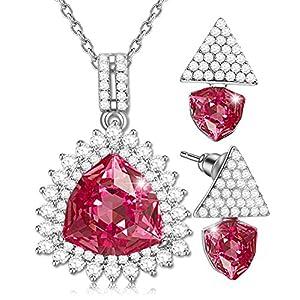 SONGPANNA Schmuck Sets Herzkette Damen kette mit Swarovski Kristall herzanhänger,Kristall Ohrringe und Halsketten