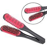 ULTNICE Peine de alisado para el cabello herramientas de estilo jabalí cerda doble cara brocha peine pinza (rojo)