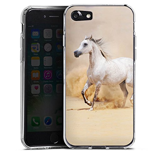 Apple iPhone 5c Tasche Hülle Flip Case Pferd Wüste Horse Silikon Case transparent