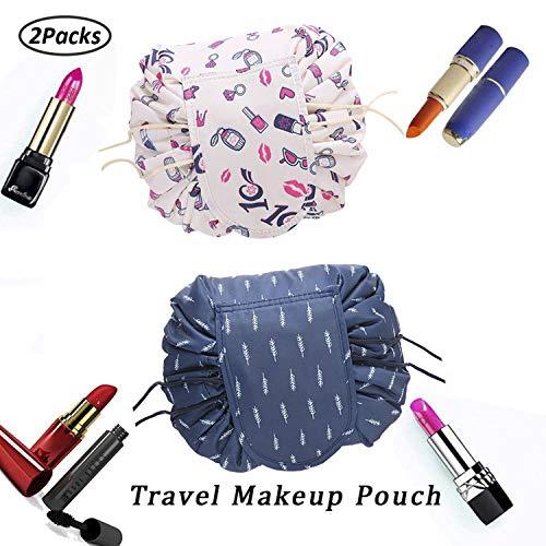 Faule Make-up Tasche Kordelzug Tragbare Quick Pack Reise-Make-up-Etui Fall Multifunktionale wasserdichte Kulturbeutel Make-up Pinsel Aufbewahrungs-Organizer (2 Packs B)