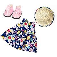 Holatee TrajedeModa Verano 4 Piezas Vestido sin Manga + Sombrero + Zapatos MuñecaAmericanaChica 18Pulgadas