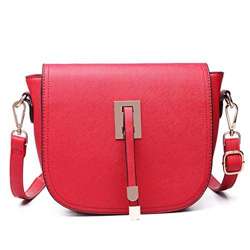 Miss LuLu Schultertasche Damen Umhängetasche Retro Elegant Tasche Citytasche klein PU-Leder LT6631-Rot