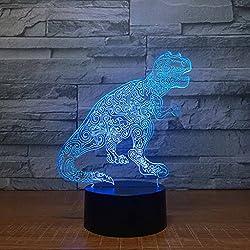 ZNND Luz de la noche de colores, USB Charging Creativity LED 3D Illusion Effect Lámpara de mesa de dinosaurio tridimensional (panel de acrílico + Base de ABS)