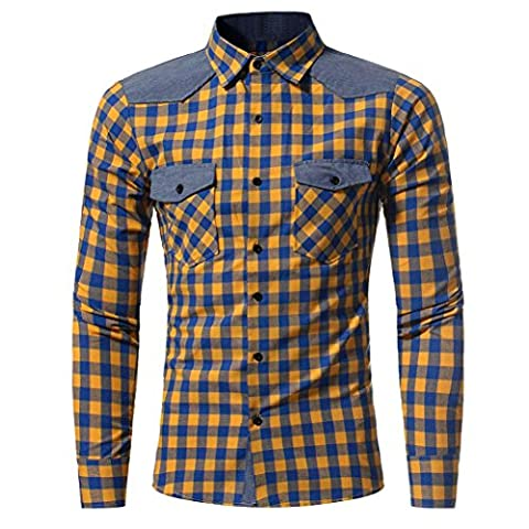 Herren Hemd Longra Herren Kariert Hemd Herbst und Winter Langarm Shirt Self-Cultivation Shirt Top Bluse Männer Slim Fit Hemd (M, Yellow)