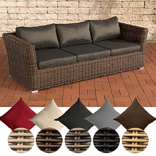 CLP Poly-Rattan 3er Sofa Mandal mit 3 Sitzplätzen I Gartensofa mit Aluminium-Gestell I Loungesofa mit Polsterkissen I 5mm Rattandicke Braun Meliert, anthrazit