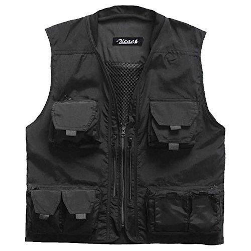 Zicac outdoor Multi-Tasche Strickkragen Angeln Jagd Weste Jacke mit Reißverschluss Atmungsaktiv (Schwarz, EU M-Tag L)