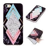 Misstars Coque en Silicone pour iPhone 5C Marbre, Ultra Mince TPU Souple Flexible Housse Etui de Protection Anti-Choc Anti-Rayures pour Apple iPhone 5C, Diamant Tricolore