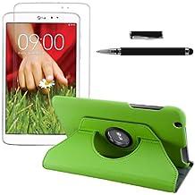 3en1: kwmobile Funda para LG G Pad 8.3 HD - Case de 360 grados de cuero sintético para tablet - Smart Cover completo y plegable para tableta en verde + Lámina, transparente + Stylus, negro