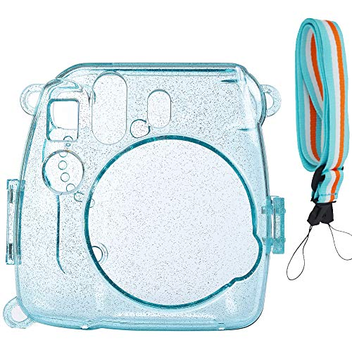 SAIKA Glitzerkristall Schwerer Tasche für Fujifilm Instax Mini 9/8/8 + Sofortbildfilmkamera mit hübschem verstellbaren Riemen (Eisblau)