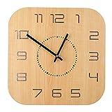 DUS 30 * 30cm Carré Horloge Murale Silencieuse Bois Pendule Murale Moderne Wall Clock Home Decor