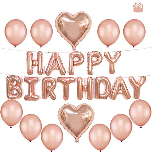 Tumao Happy Birthday Ballons Banner, Rosegold Luftballon Folienballons Buchstabenballons Luftballons Geburtstag, Latex Ballons, Elegante Party Supplies für Frauen, Kinder Baby Mädchen Party. (Happy Birthday Latex Ballons)