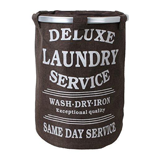 teprovo Wäschekorb Wäschesammler Laundry Basket Schmutzwäsche Korb 60 L Kleideraufbewahrung Leinenoptik Deckel Kordelzug braun (60l Korb)