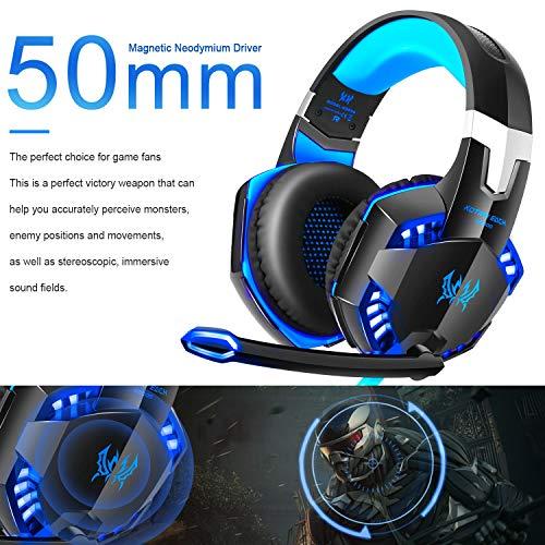 Gaming Kopfhörer für PS 4 PC Computer Professioneller 3,5mm Gaming Headset Stereo Sound Mikrofon mit Rauschunterdrückung und Lautstärkeregler Egonomisches Design, geringes Gewicht (Blau) - 6