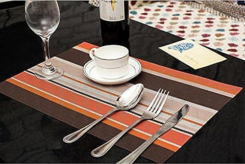 Set de table Plastifi¨¦ Stripe orange PVC Placemats Dining Table Sets Clest F&H R¨¦sistant ¨¤ la Chaleur (Set of 2 pcs)