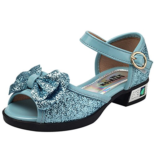 Oasap Girl's Open Toe Low Heels Buckle Bow Glitter Mary Jane Sandals blue