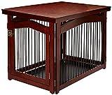 dobar 35246 Multifunktion Hundekäfig mit Absperrung-Gatter aus Holz mit Tischoberfläche für innen, Hundebox Indoor klappbar, braun