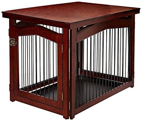 dobar 35246 Multifunktion Hundekäfig mit Absperrung-Gatter aus Holz mit Tischoberfläche für innen, Hundebox Indoor klappbar, braun (Hundebox Aus Holz)